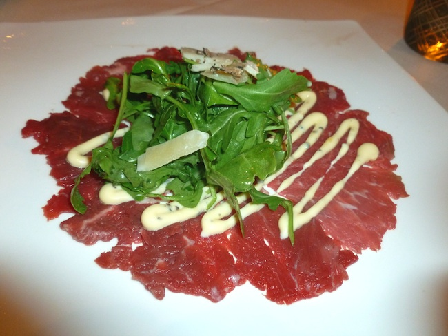 Beef carpaccio with yuzo dressing and Asian greens (Photo by Frank ...