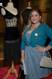 First Place winner Sarah Davidson with her creation at Fashion Redux! (Photo by Diana Cavagnaro)