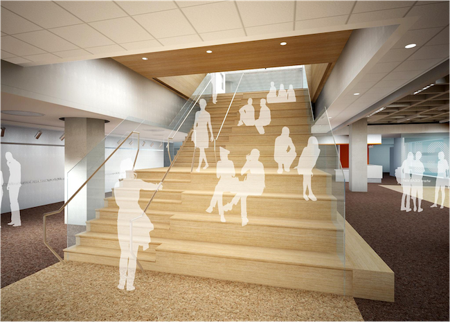 Artists Rendering Of A Stairway Inside E3 Civic High E3CH Courtesy