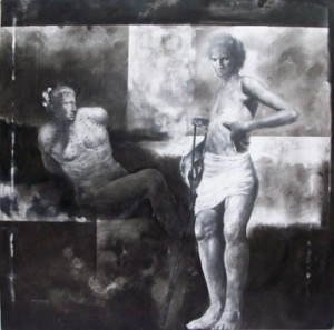 """""""Death of Agros"""" 1999, charcoal & graphite on canvas, 48 x 48 (Courtesy Noel-Baza Fine Art)"""