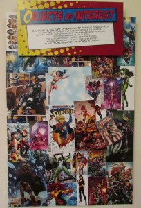 A collage discusses the objectification of women in comics shown in the exhibit. (Photo by Anna Frost)