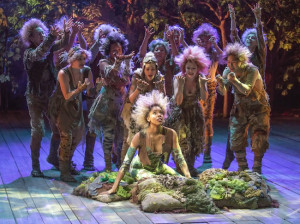 Krystel Lucas as Titania (center) with the cast of The Old Globe's Shakespeare Festival production of A Midsummer Night's Dream (Photo by Jim Cox)