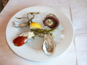 Oyster and a Peruvian scallop from the raw bar (Photo by Frank Sabatini Jr)