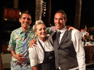 (l to r) Chef Scotty Wagner, Chef Laurie Sauer and Sommelier and Mixologist Jeff Josenhans after winning the 2013 Chef Showdown. (Photo by Katie Wooley)