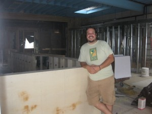 Todd Hipper stands inside San Diego Cellars during the build out. (Photo by David Nunes)
