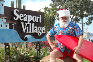 Anyone can get a photo with Seaport Village's Surfing Santa (Courtesy Seaport Village)