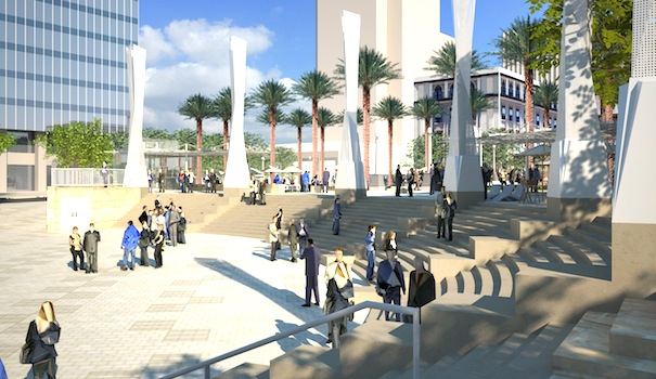 Artist Joe Cordelle's renderings of how Horton Plaza Park will look once it is completed. (Courtesy Walker Macy)