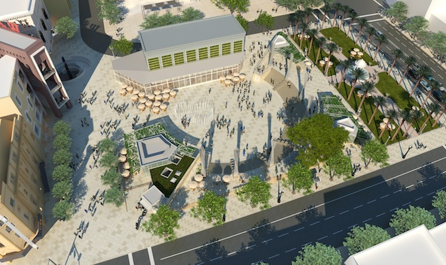Another rendering of the new plaza, with Broadway seen to the right, and Fourth Avenue in the foreground. (Courtesy Walter )