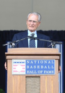 Coleman receiving Ford C. Frick Award from National Baseball Hall of Fame in 2005. (Courtesy San Diego Padres)