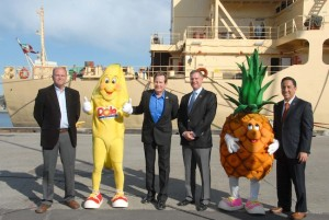 One of Gloria's last public appearances as iMayor was Feb. 24, at the dedication of the Port of San Dieego's shore power system for cargo ships at the 10th Avenue Marine Terminal. (l to r) Imperial Beach Mayor Jim Janney; Dole's Bobby Banana; National City Mayor Ron Morrison; Rep. Scott Peters; Penelopy Pineapple and Gloria. (Photo by Dale Frost/SDPA)