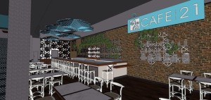 Artist's rendering of the new look for the prime Downtown location for Cafe 21 just a block from its current location. (Courtesy Point of Departure)
