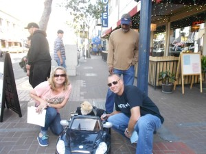 Leo the Pomeranian in his toy convertible, making friends during a recent Urban Challenge/Scavenger Hunt (Photo by Marc Menkin)