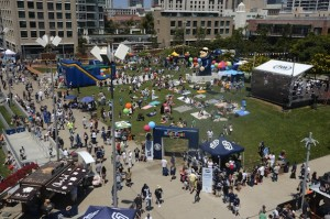 """The """"Park at the Park"""" offers fans and their families a more immersive experience at the park. Padres host Kids Fest above. (Courtesy San Diego Padres)"""