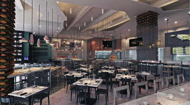 An artist's rendering of the inside of Bottega Americano (Courtesy Bottega Americano)