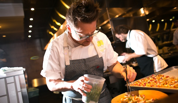 (left) Chef extraordinaire Richard Blais of Juniper and Ivy (Photo by Tim King)  (Above) Chicken from the rotisserie; watermelon-tomato salad; local corn; carne cruda with quail eggs (Photos by Frank Sabatini Jr.)