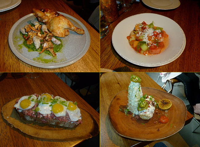 Chicken from the rotisserie; watermelon-tomato salad; local corn; carne cruda with quail eggs (Photos by Frank Sabatini Jr.)