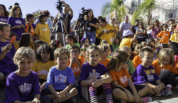 Current Urban Discovery Academy students were among the approximately 400 people who attended the groundbreaking ceremony.  (Photo by Aliya Weise)