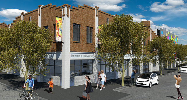 Rendering of new Urban Discovery Academy facility, seen at the corner of 14th and F streets. (Courtesy Urban Discovery Academy)