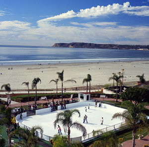 Ice skating by the beach at the Hotel del Coronado.