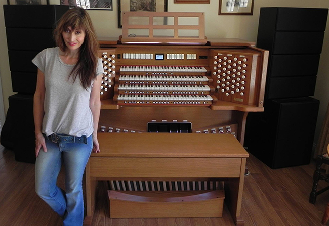 Dr. Carol Williams with the hybrid organ she is taking to the San Diego County Fair. (Courtesy Carol Williams)