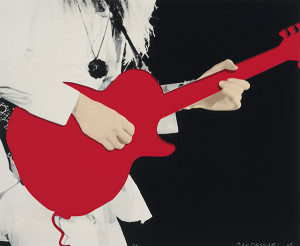 "John Baldessari, ""Person with Guitar (Red),"" 2005. Five-color screen print construction."