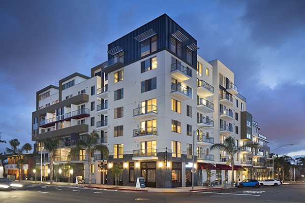 The six-floor Broadstone Balboa Park is located at 3288 Fifth Ave. (Courtesy Alliance Residential and Clarion Partners)