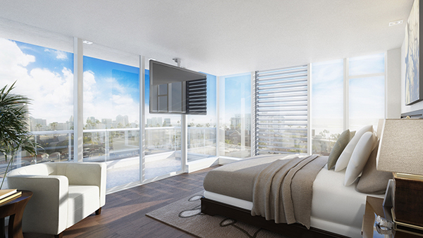 Sweeping bedroom views at The Park overlook the Downtown landscape. (Courtesy Zephyr)