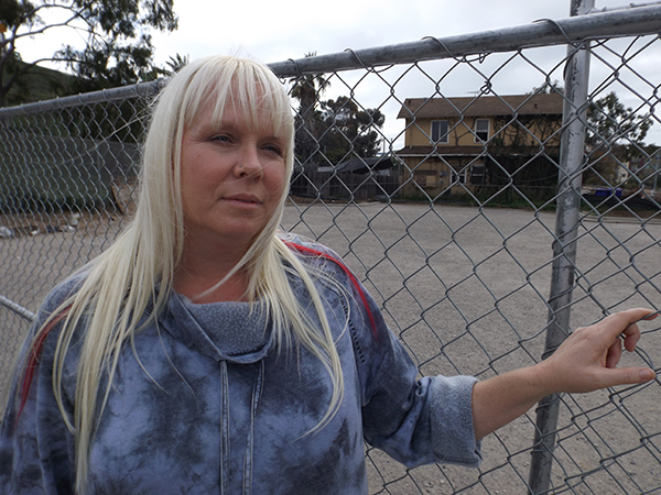 Lisa Kogan at the lot where the group plans to settle the tiny shelter community