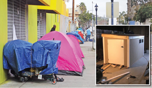 "A long line of tents provide inadequate shelter for Downtown's homeless (Photo by Maria Jose Duran); (inset) ""tiny shelters"" may soon change that (Courtesy Lisa Kogan)"