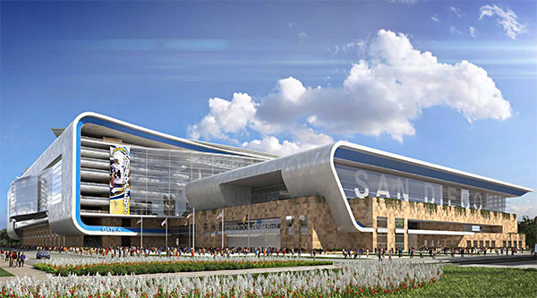 Conceptual rendering, which is currently under revision, of what a joint-use Chargers stadium / Convention Center extension might look like. (Courtesy JMI Realty)