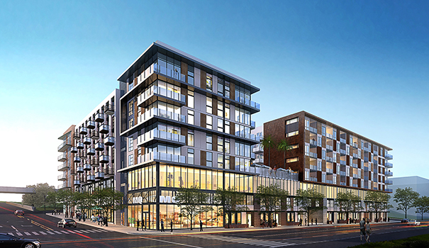 Construction is underway for Broadstone Makers Quarter, a mixed-use residential building, with others to follow. (Courtesy Joseph Wong Design Associates)