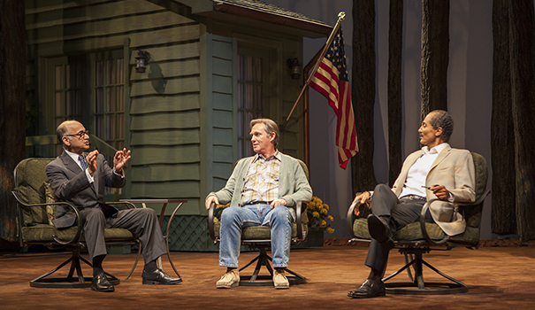 """(l to r) Ned Eisenberg as Menachem Begin, Richard Thomas as Jimmy Carter, and Khaled Nabawy as Anwar Sadat in the West Coast premiere of Lawrence Wright's """"Camp David."""" (Photo by Jim Cox)"""