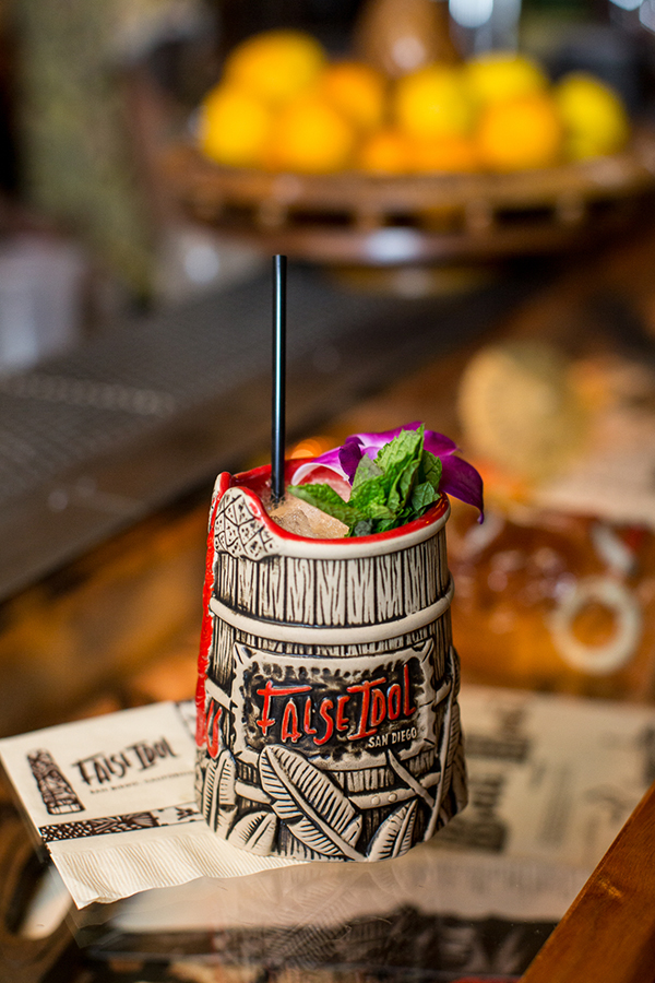 False Idol's signature Tiki mugs are filled with custom cocktails (Photo by Arlene Ibarra)