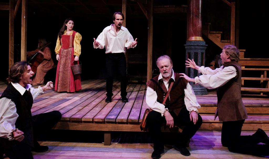 "The cast of ""Equivocation"" at Lambs Players Theatre (Photo by Ken Jacques)"