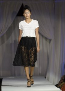 Killem with Chic T-shirt and Wild Dove SD on the runway at Fashion Week San Diego. (Photo by Diana Cavagnaro)