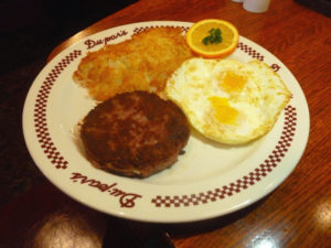 Corned beef hash with eggs and potatoes