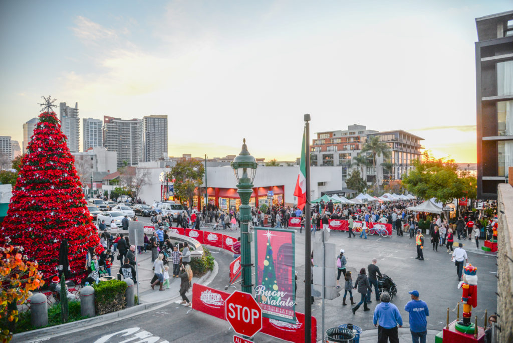 A 25-foot poinsettia tree towers over Piazza Basilone in Little Italy (Courtesy Olive PR Solutions)
