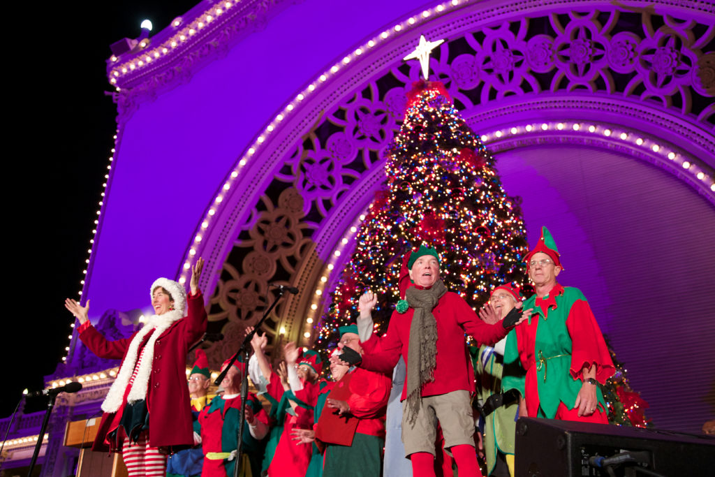 The Sun Harbor Elves entertain at the Spreckels Organ Pavilion, among dozens who will perform in Balboa Park during the two-night affair. (Photo by Isaiah Leggett)