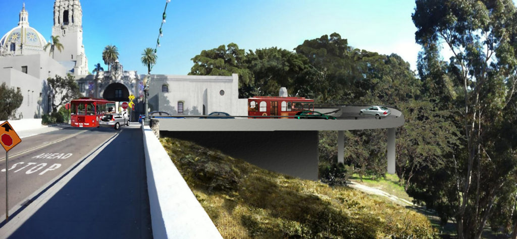 The original entrance to Balboa Park via Cabrillo Bridge (below) may soon be closed off and traffic rerouted onto a sweeping new cement exit to the right (artist's rendering above), which would eventually lead drivers to a paid parking garage behind Spreckels Organ Pavilion. (Images courtesy SOHO)