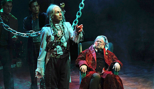 "(l to r) David McBean as the Ghost of Christmas Past and Tom Stephenson as Ebenizer Scrooge in Cygnet Theatre's ""A Christmas Carol"" now playing at Old Town Theatre (Photo by Ken Jacques)"